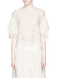Ms Min Broderie Anglaise Silk Top White