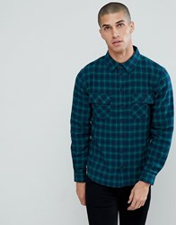 Another Influence Flannel Check Shirt With Twin Pocket Navy