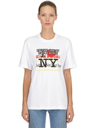 Vetements Printed Cotton Jersey T Shirt White