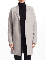Saks Fifth Avenue Collection Boiled Wool Car Coat Cloud Grey Heather Black