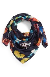 Nordstrom Print Silk Square Scarf Navy Butterfly Burst