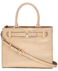 Calvin Klein Small Faye Leather Satchel Gold
