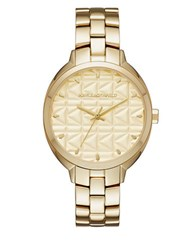 Karl Lagerfeld Labelle Stud Saddle Leather And Stainless Steel Three Hand Watch Tan