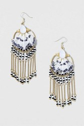 Topshop Feather Chain Drop Earrings Black