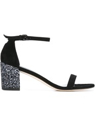 Stuart Weitzman Sequin Block Heel Sandals Black