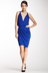 Cut25 By Yigal Azrouel Draped Crossover V Neck Dress Blue
