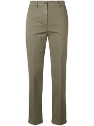 Aspesi Cropped Slim Fit Trousers Green