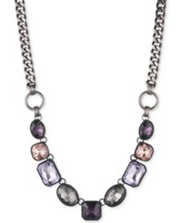 Dkny Hematite Tone And Black Rubber Purple Stone Collar Necklace Created For Macy's