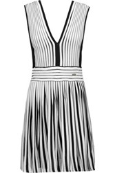 Just Cavalli Stretch Jersey Paneled Stretch Knit Dress Off White