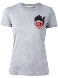 Amen Bead Embroidered T Shirt Grey