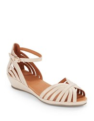 Gentle Souls Leah Leather Peep Toe Wedge Sandals Beige