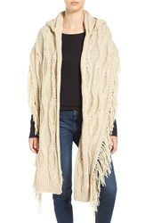 Free People Women's Hooded Cable Knit Wrap Sand