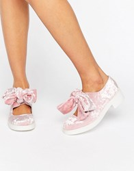 Asos Mousse Bow Detail Flat Shoes Pink