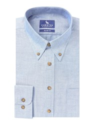 Chester Barrie Baden Solid Oxford Slim Fit Button Down Blue