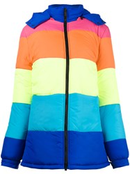 Mira Mikati In The Middle Of Nowhere Stripe Puffer Coat Nylon Polyester