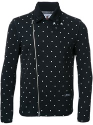 Education From Youngmachines Dotted Back Quote Biker Jacket Black
