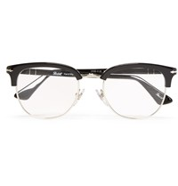 Persol Round Frame Acetate And Metal Optical Sunglasses Black