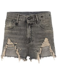 R 13 R13 Shredded Slouch Denim Shorts Black