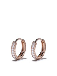 Loree Rodkin 18Kt Rose Gold Diamond Medium Etched Hoop Earrings 60