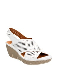 Clarks Clarene Award Leather Sandals White