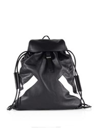 Neil Barrett Retro Modernist Calf Leather Rucksack Black White