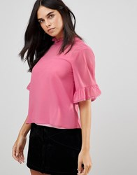 Traffic People 3 4 Sleeve Flute Sleeve Top With Ruffle Detail Pink