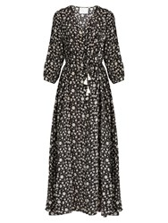 Athena Procopiou Night Dream Floral Print Silk Maxi Dress Black Print