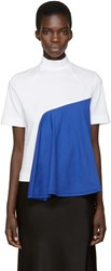Facetasm White And Blue Mock Neck T Shirt