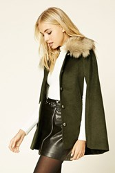 Forever 21 Faux Fur Trimmed Cape