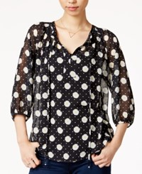 Maison Jules Sheer Printed Top Only At Macy's Black Combo