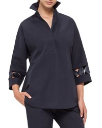 Akris Punto Lace Inset Oversized Tunic Blouse Navy