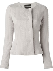 Emporio Armani Cable Pattern Fitted Jacket Grey