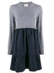 Semicouture Flared Two Tone Dress Grey