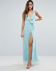 Jarlo Wrap Front Maxi Dress With Ruffle Detail Blue