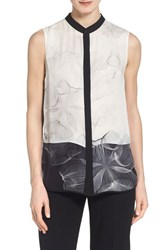 Women's Elie Tahari 'Vivian' Colorblock Print Silk Blouse White Black
