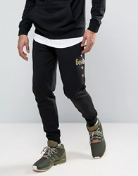 Bando Mesh Gold Foil Printed Slim Fit Joggers Black