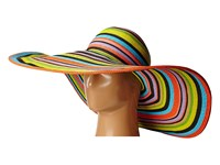San Diego Hat Company Ubx2721 Striped Floppy 8 Inch Brim Sun Hat Multi Black Caps