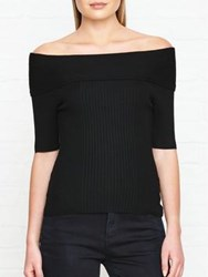 Karen Millen Deep Bardot Rib Knitted Top Black