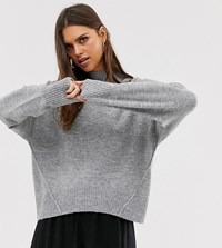 Micha Lounge Relaxed High Neck Jumper With Seam Detail Grey