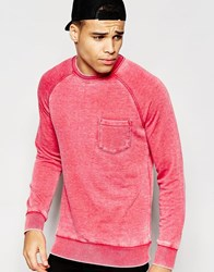 Another Influence Burn Out Crew Neck Jumper Pink