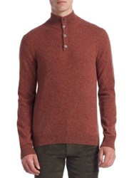 Saks Fifth Avenue Collection Cashmere Mockneck Elbow Patch Sweater Vino Rust Blue