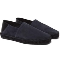 Tom Ford Barnes Collapsible Heel Suede And Leather Espadrilles Navy