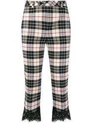 Twin Set Tartan Print Cropped Trousers Black