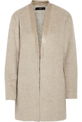 Tibi Leather Trimmed Textured Knit Coat Nude