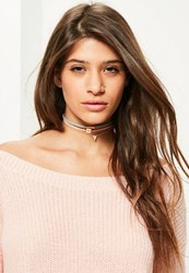 Missguided Gold Faux Suede Choker Necklace Set
