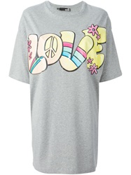 Love Moschino Love Print T Shirt Dress Grey