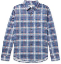 Outerknown Checked Cotton And Linen Blend Flannel Shirt Blue