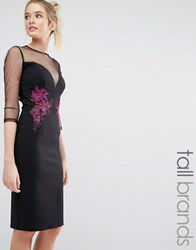 Little Mistress Tall Mesh Sleeve Detail Pencil Dress With Contrast Floral Embroidery Black