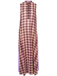 Michel Klein Checked Maxi Dress Pink And Purple