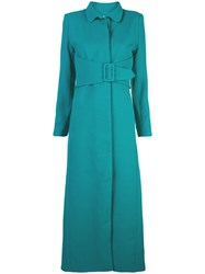 Rebecca De Ravenel Single Breasted Belted Coat Green